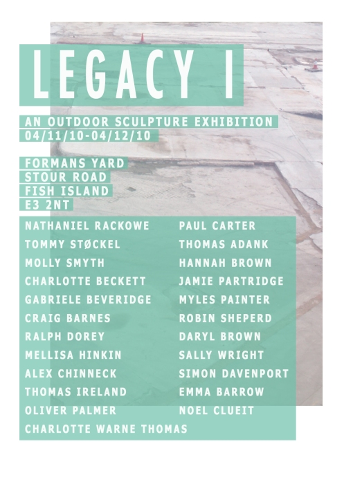 flier for Legacy I, Forman's Smokehouse Gallery's  first sculpture show